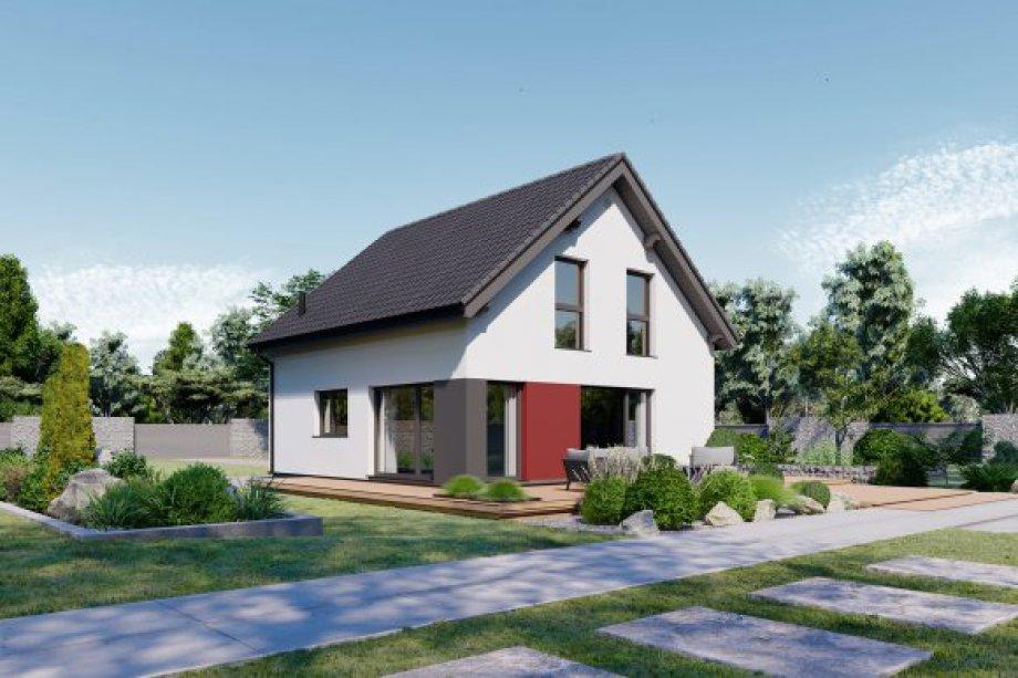 Eineinhalbgeschossiges Haus mit vier Zimmern, offener Küche, Bad, Gäste-WC (Platz für Duschbad), Technikraum und Diele. Satteldach mit 40° Dachneigung, Kniestock 0,75 m.  Im Preis enthalten: schlüssel